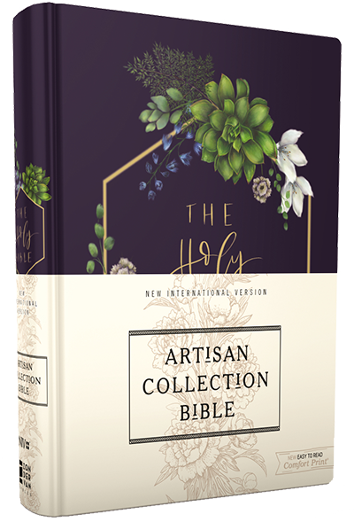 NIV, Artisan Collection Bible, Cloth over Board, Navy Floral, Designed Edges under Gilding, Red Letter Edition, Comfort Print