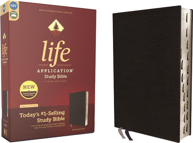 NIV, Life Application Study Bible, Third Edition, Bonded Leather, Black, Red Letter Edition, Thumb Indexed