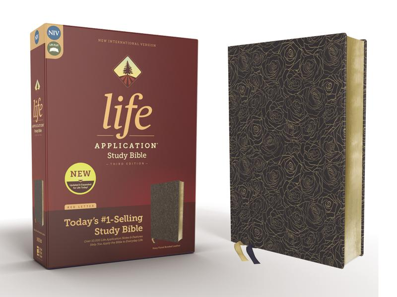NIV, Life Application Study Bible, Third Edition, Bonded Leather, Navy Floral, Red Letter Edition