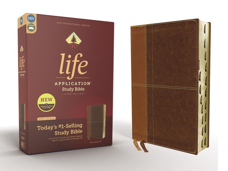 NIV, Life Application Study Bible, Third Edition, Leathersoft, Brown, Red Letter Edition, Thumb Indexed